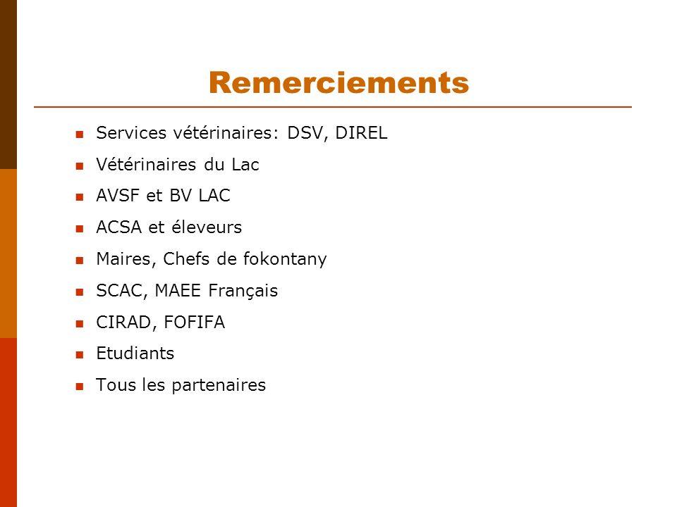 Remerciements Services vétérinaires: DSV, DIREL Vétérinaires du Lac