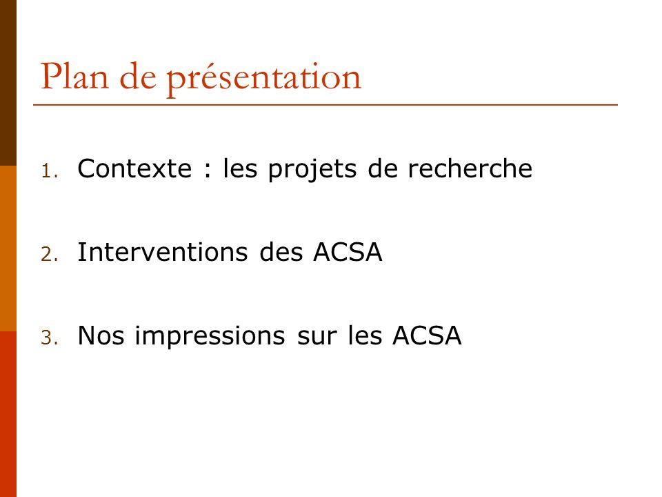 Plan de présentation Contexte : les projets de recherche