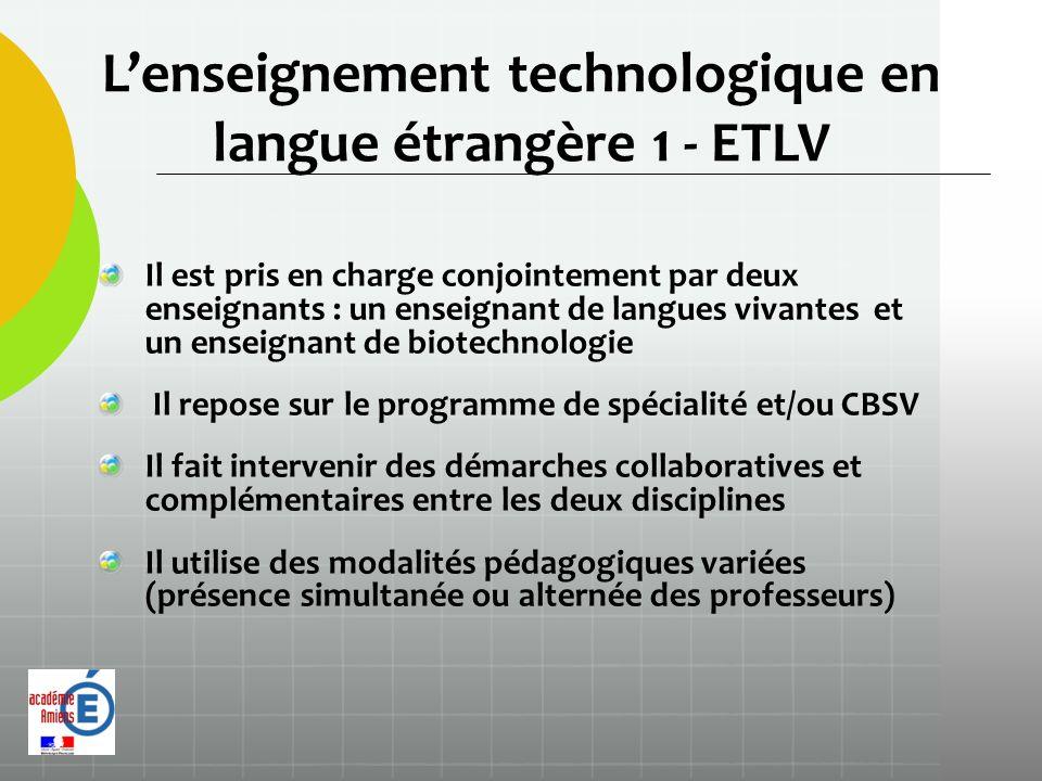 L'enseignement technologique en langue étrangère 1 - ETLV