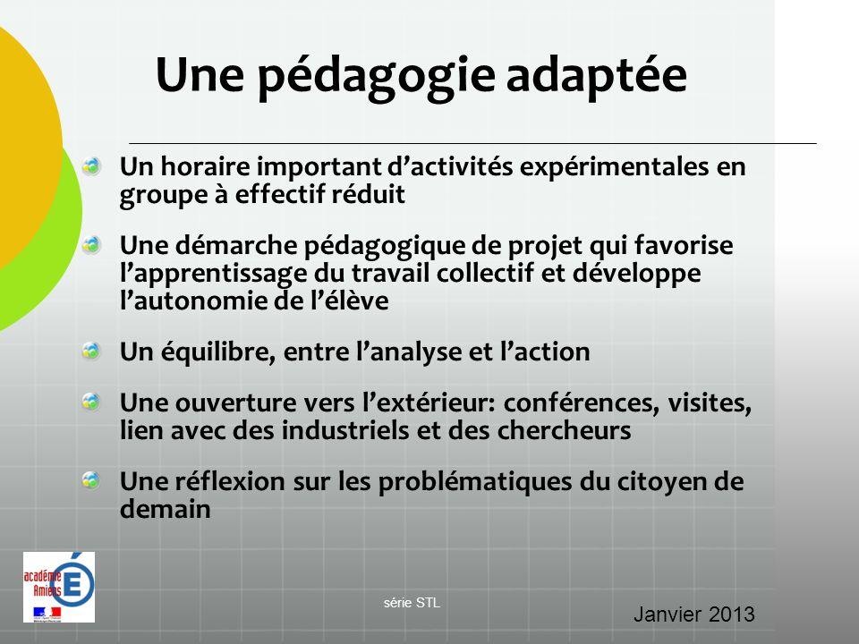 Une pédagogie adaptée Un horaire important d'activités expérimentales en groupe à effectif réduit.