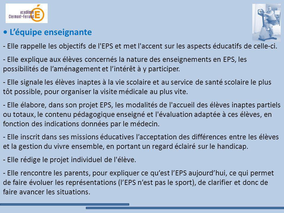 • L'équipe enseignante - Elle rappelle les objectifs de l EPS et met l accent sur les aspects éducatifs de celle-ci.