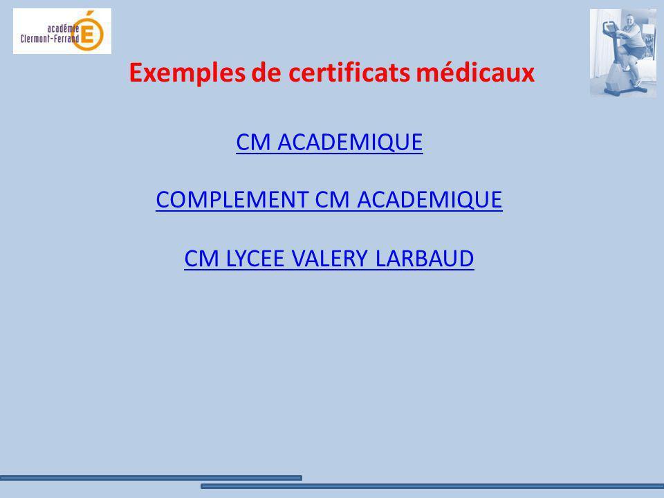 Exemples de certificats médicaux