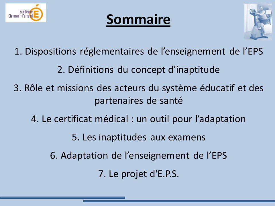 Sommaire 1. Dispositions réglementaires de l'enseignement de l'EPS 2