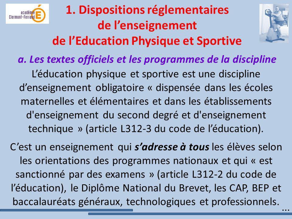 1. Dispositions réglementaires de l'enseignement de l'Education Physique et Sportive a. Les textes officiels et les programmes de la discipline