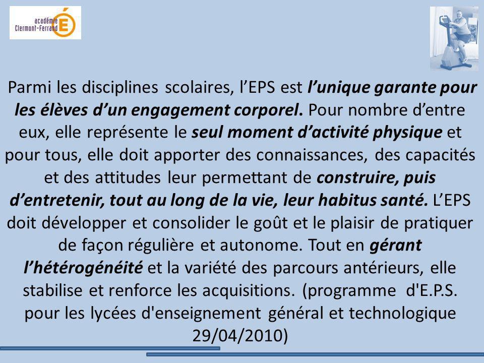 Parmi les disciplines scolaires, l'EPS est l'unique garante pour les élèves d'un engagement corporel.
