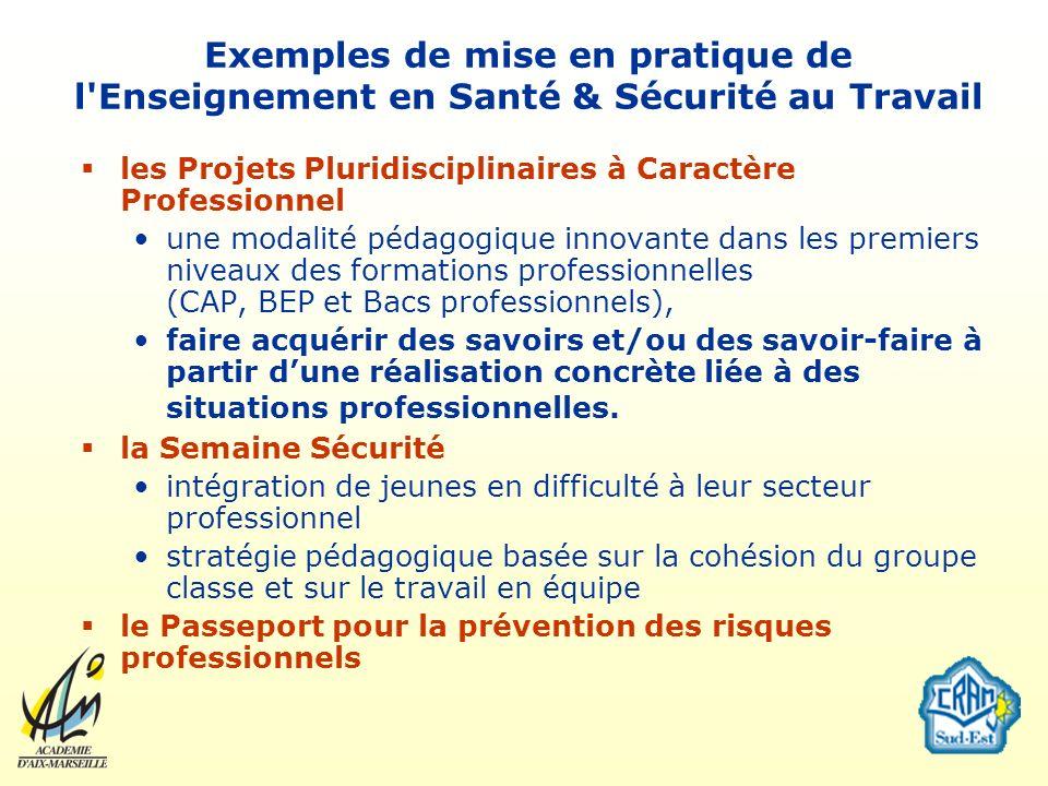 Exemples de mise en pratique de l Enseignement en Santé & Sécurité au Travail