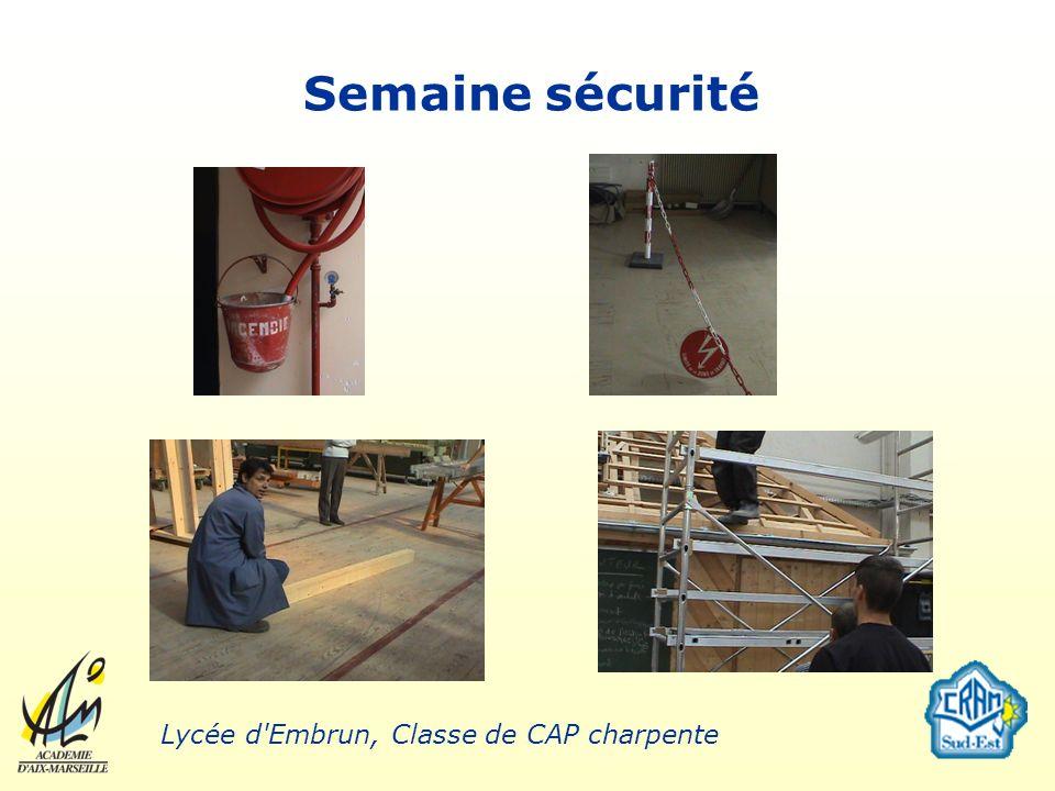 Semaine sécurité Lycée d Embrun, Classe de CAP charpente