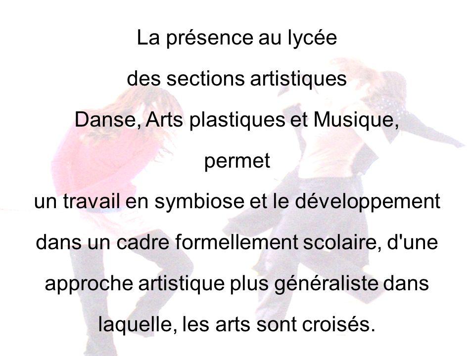 des sections artistiques Danse, Arts plastiques et Musique, permet