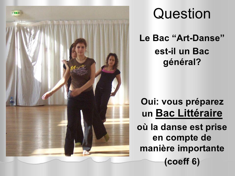 Question Le Bac Art-Danse est-il un Bac général