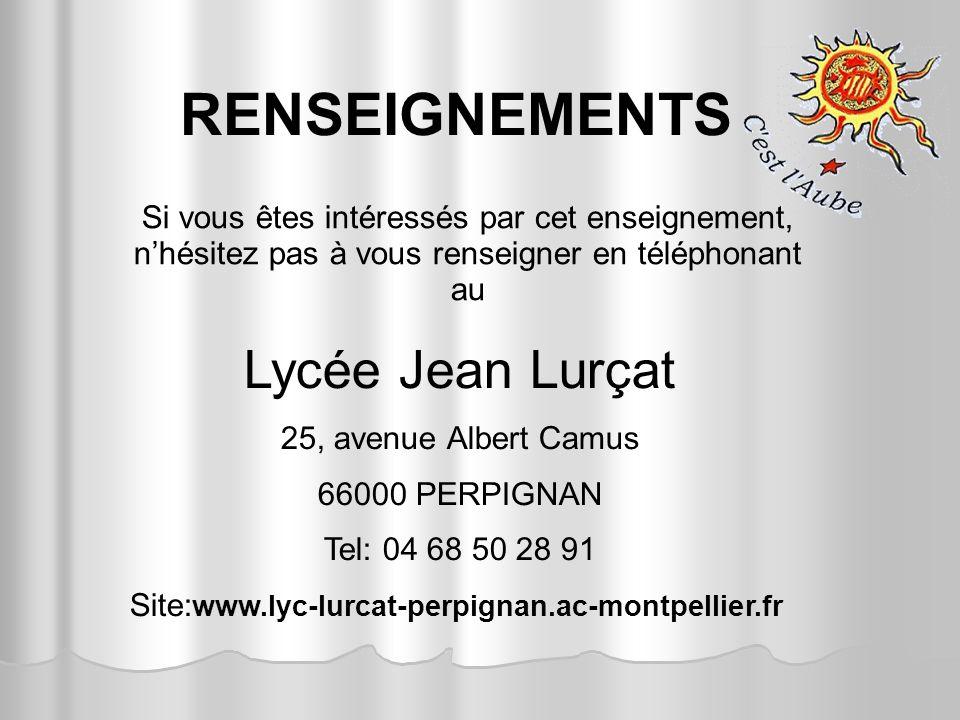 RENSEIGNEMENTS Lycée Jean Lurçat