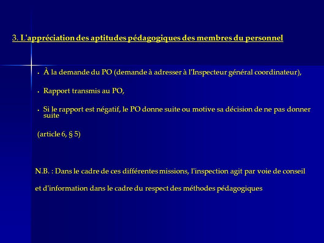 3. L appréciation des aptitudes pédagogiques des membres du personnel