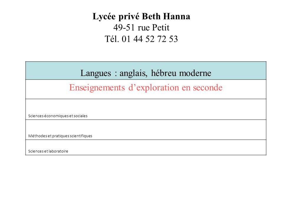 Lycée privé Beth Hanna 49-51 rue Petit Tél. 01 44 52 72 53