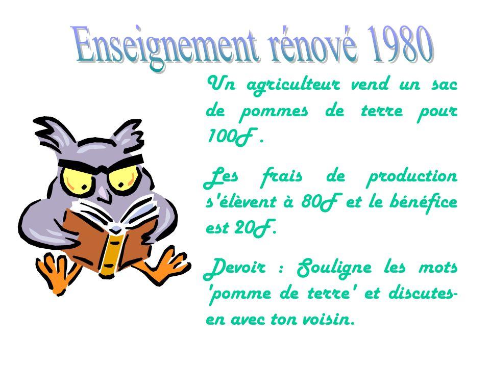 Enseignement rénové 1980 Un agriculteur vend un sac de pommes de terre pour 100F . Les frais de production s élèvent à 80F et le bénéfice est 20F.