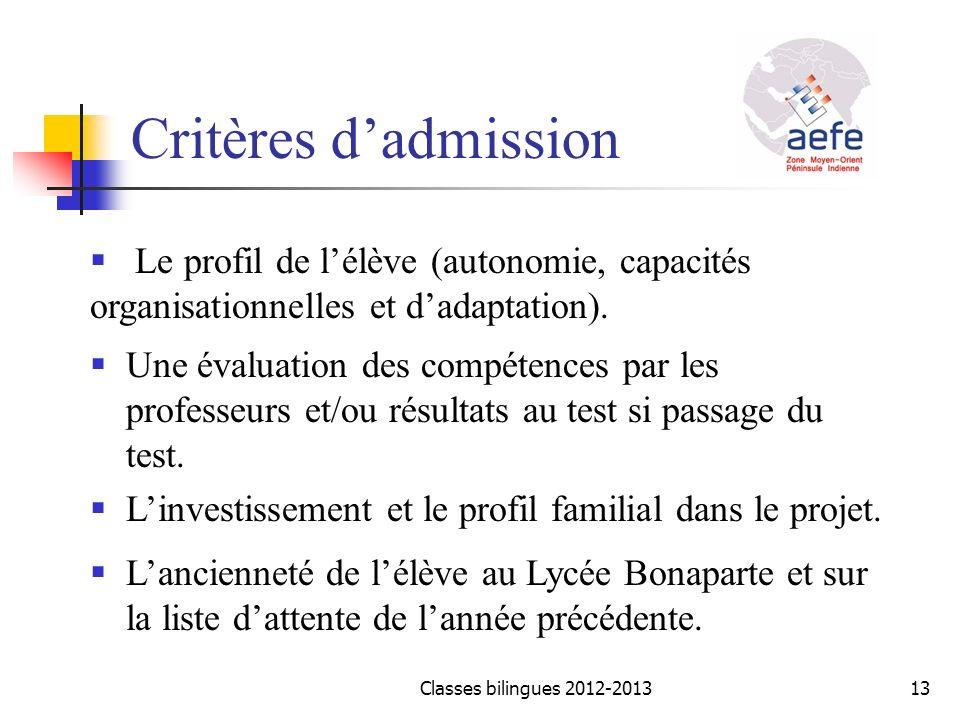 Critères d'admission Le profil de l'élève (autonomie, capacités organisationnelles et d'adaptation).
