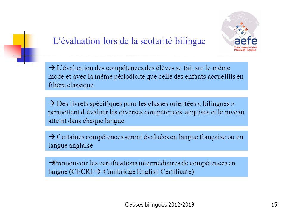 L'évaluation lors de la scolarité bilingue