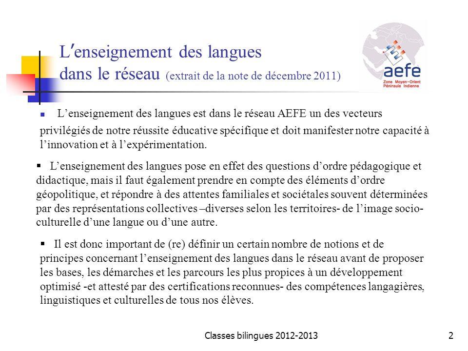 L'enseignement des langues dans le réseau (extrait de la note de décembre 2011)