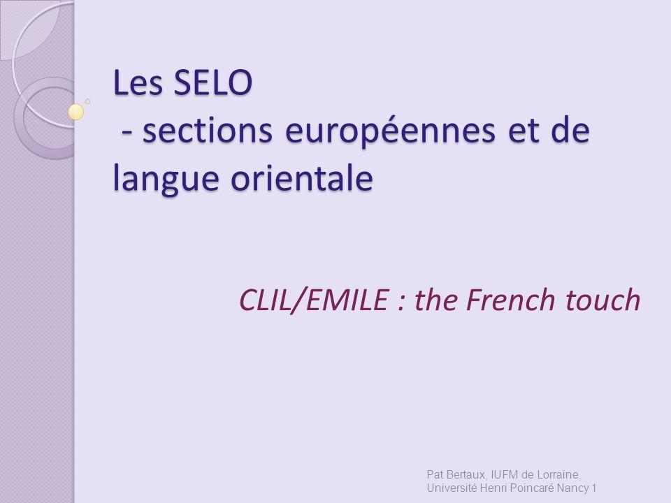 Les SELO - sections européennes et de langue orientale
