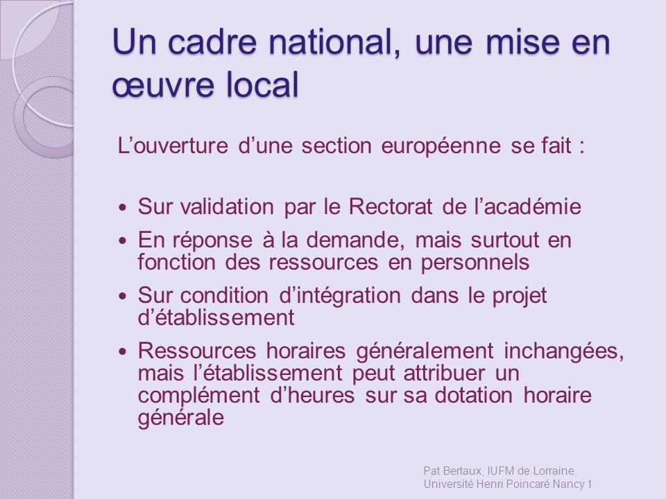Un cadre national, une mise en œuvre local