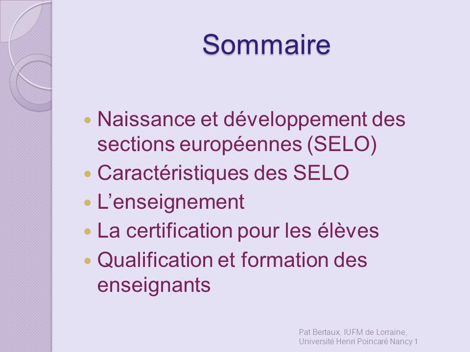 Sommaire Naissance et développement des sections européennes (SELO)
