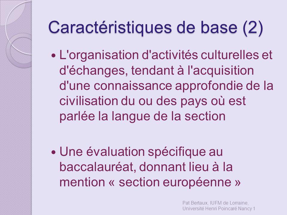 Caractéristiques de base (2)
