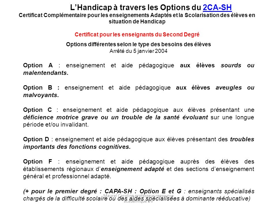 L'Handicap à travers les Options du 2CA-SH
