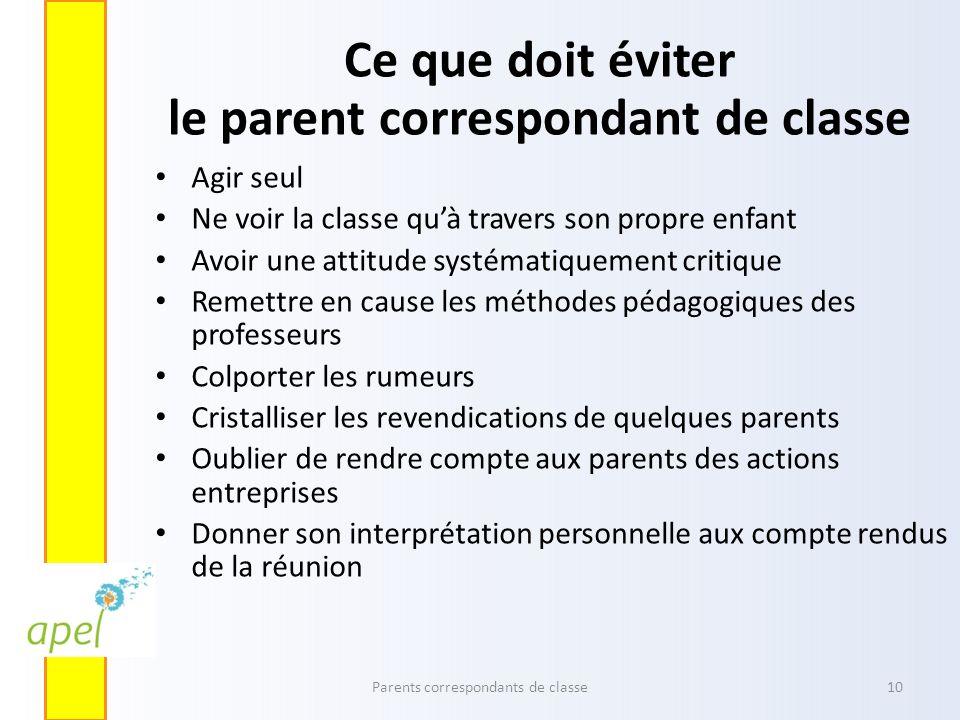 Ce que doit éviter le parent correspondant de classe
