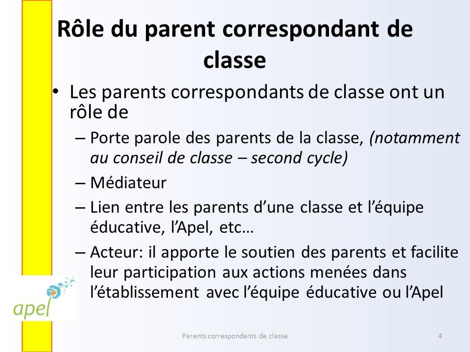Rôle du parent correspondant de classe