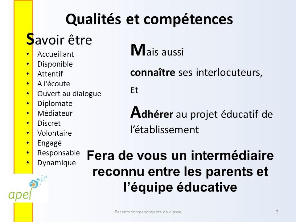 Qualités et compétences