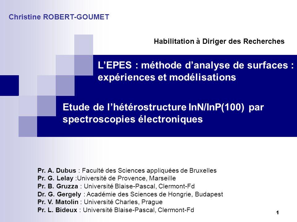 L'EPES : méthode d'analyse de surfaces : expériences et modélisations