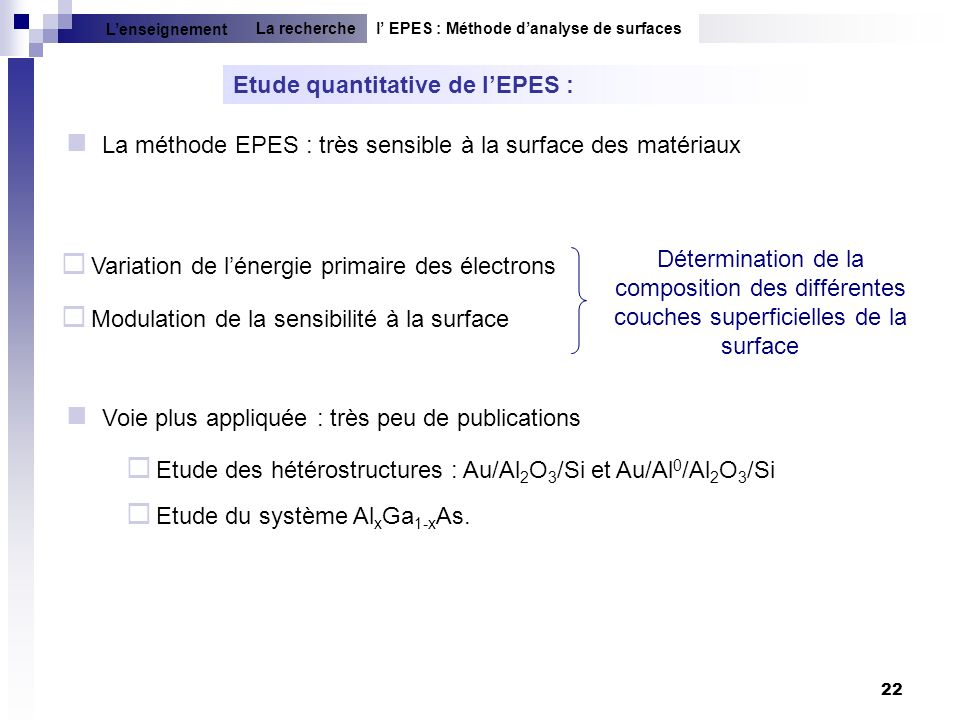 Etude quantitative de l'EPES :