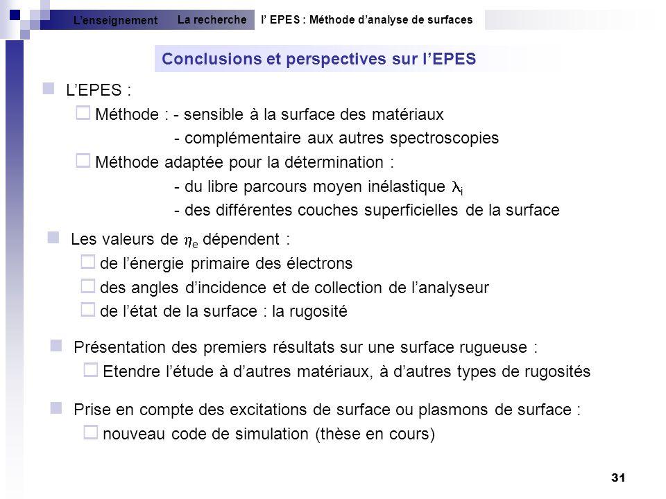 Conclusions et perspectives sur l'EPES