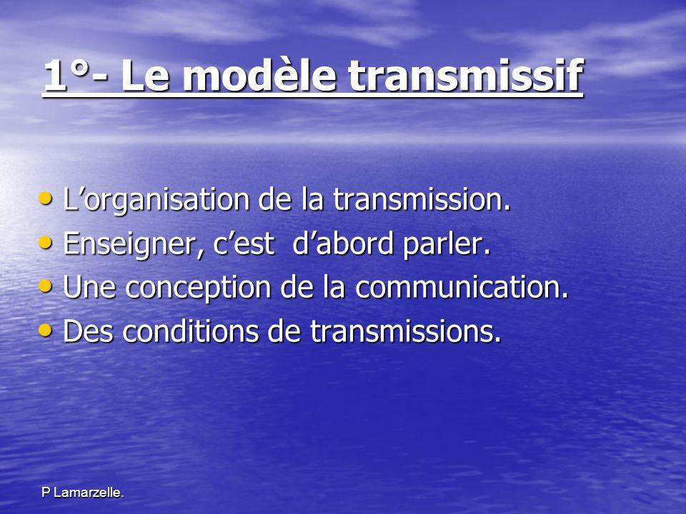 1°- Le modèle transmissif