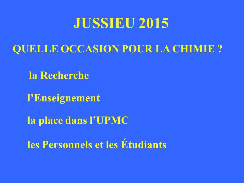JUSSIEU 2015 QUELLE OCCASION POUR LA CHIMIE la Recherche