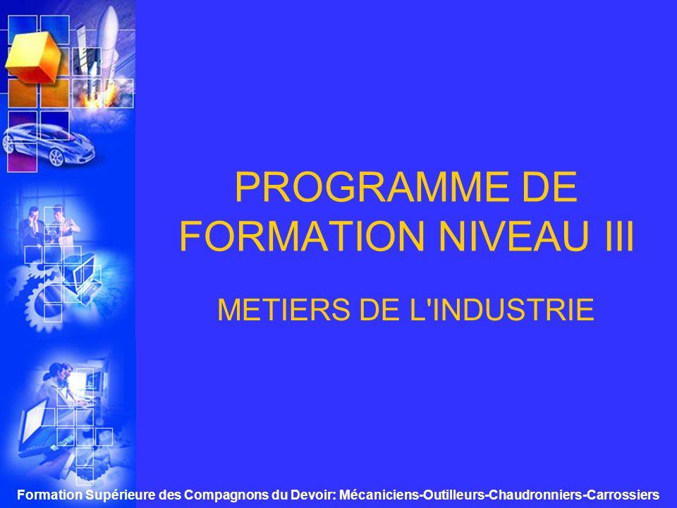 PROGRAMME DE FORMATION NIVEAU III