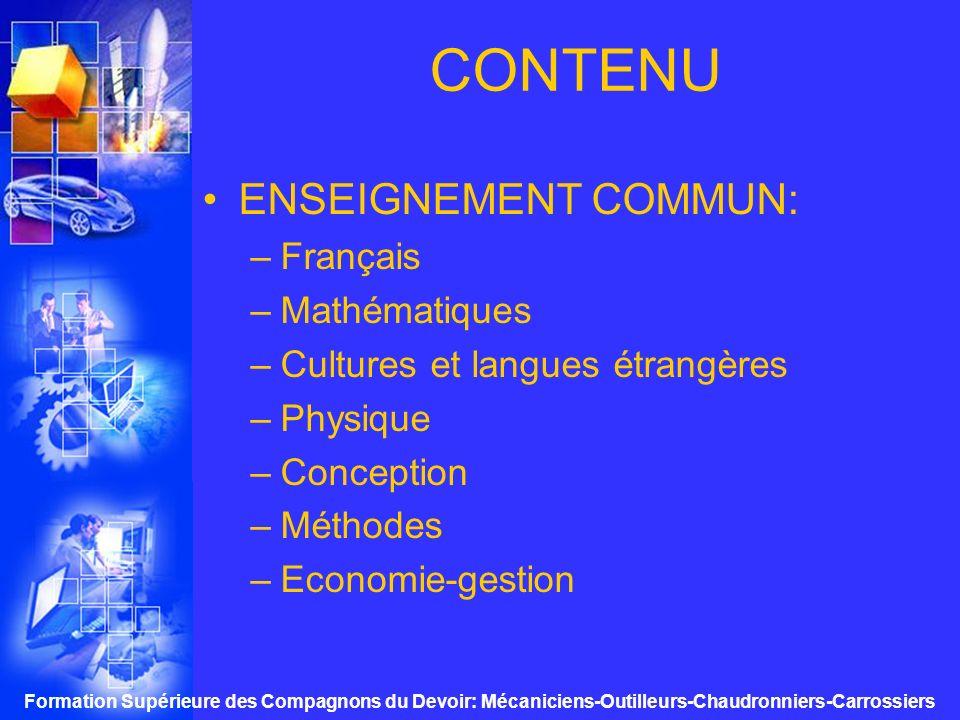 CONTENU ENSEIGNEMENT COMMUN: Français Mathématiques