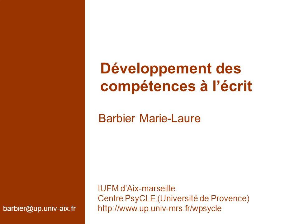 Développement des compétences à l'écrit Barbier Marie-Laure