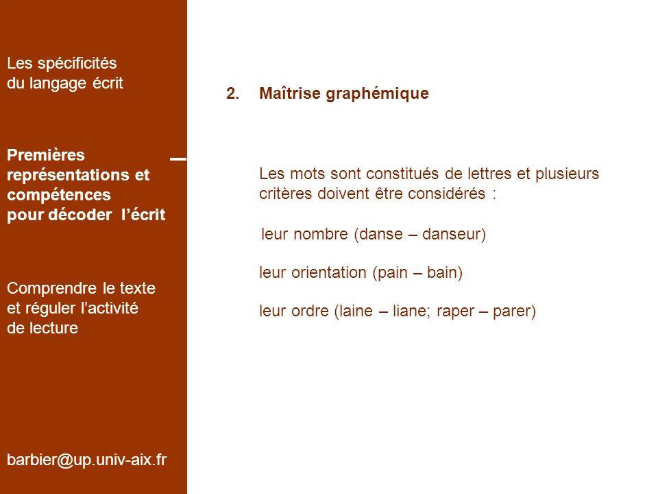 Les spécificités du langage écrit. Maîtrise graphémique. Premières. représentations et. compétences.