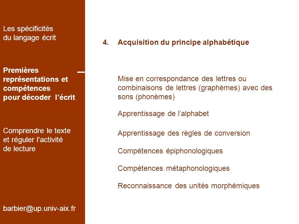 Les spécificités du langage écrit. 4. Acquisition du principe alphabétique. Premières. représentations et.
