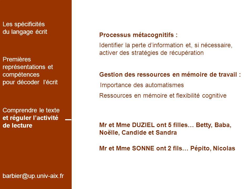 Les spécificités du langage écrit. Processus métacognitifs :
