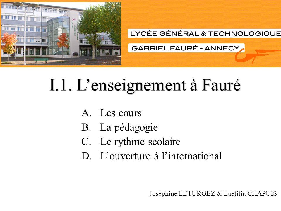 I.1. L'enseignement à Fauré