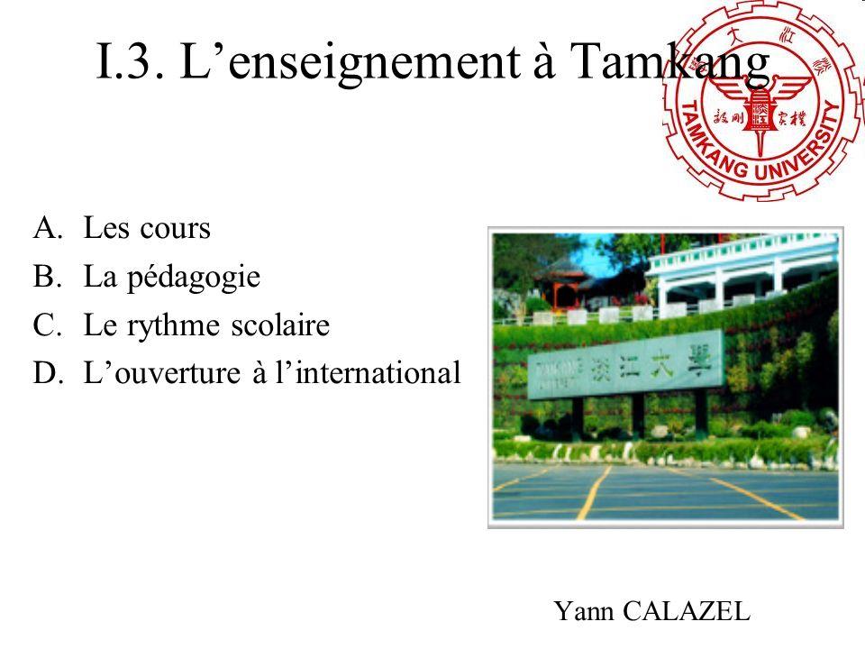 I.3. L'enseignement à Tamkang