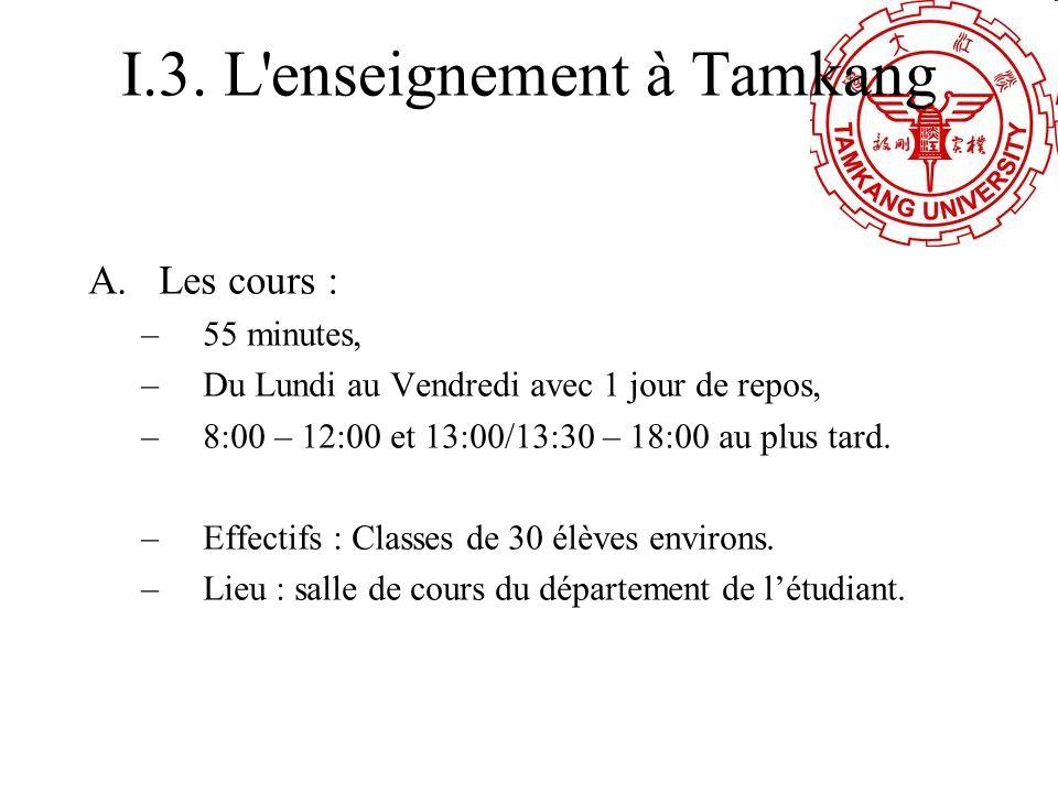 I.3. L enseignement à Tamkang