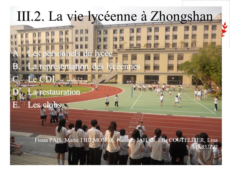 III.2. La vie lycéenne à Zhongshan