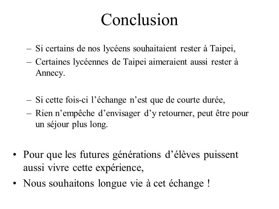 Conclusion Si certains de nos lycéens souhaitaient rester à Taipei, Certaines lycéennes de Taipei aimeraient aussi rester à Annecy.