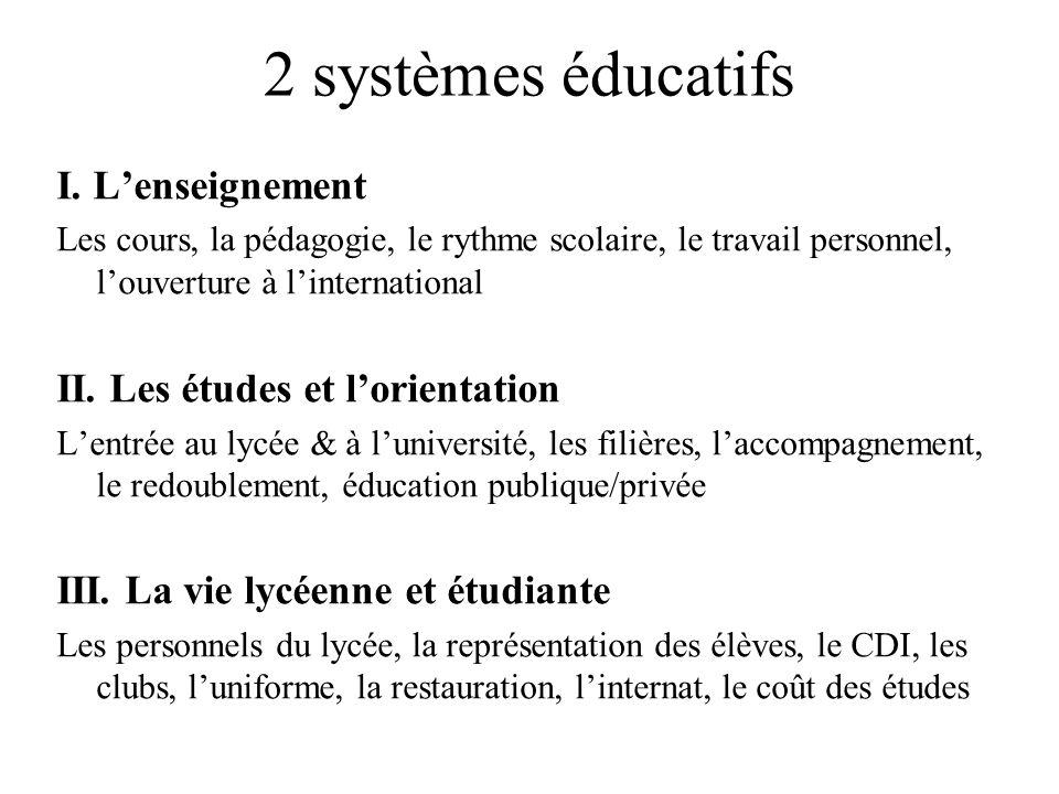 2 systèmes éducatifs I. L'enseignement II. Les études et l'orientation
