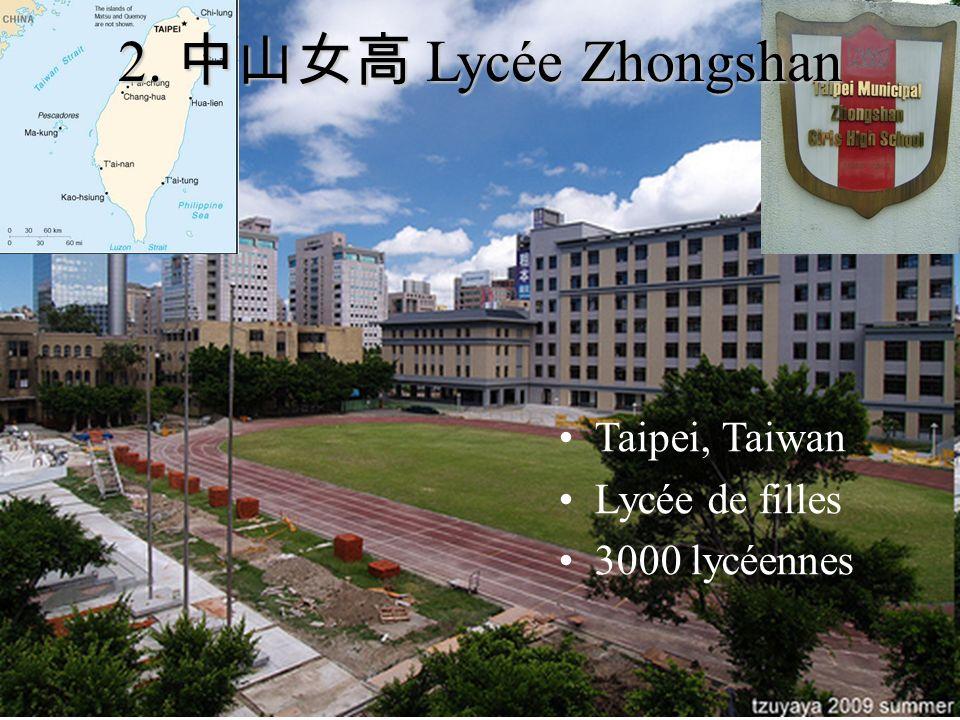2. 中山女高 Lycée Zhongshan Taipei, Taiwan Lycée de filles 3000 lycéennes
