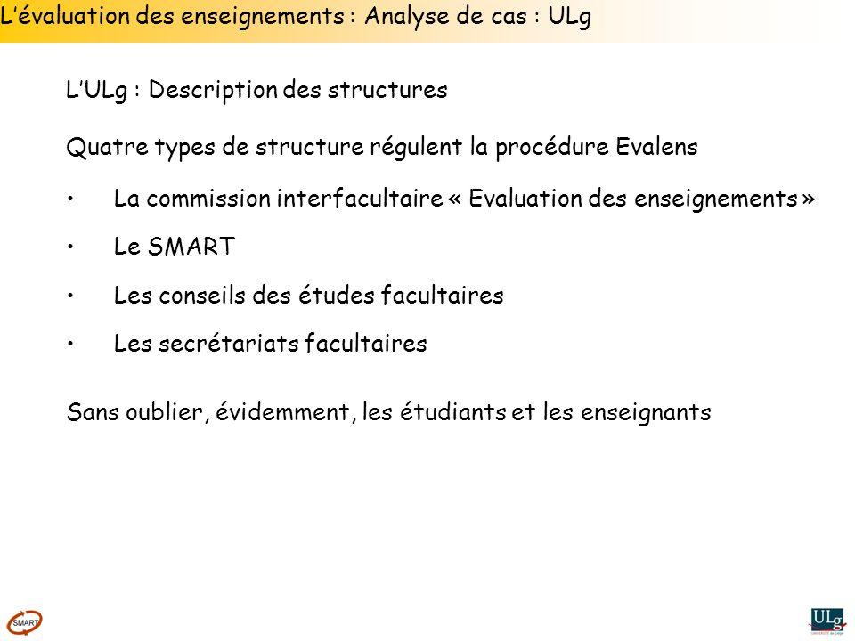L'évaluation des enseignements : Analyse de cas : ULg