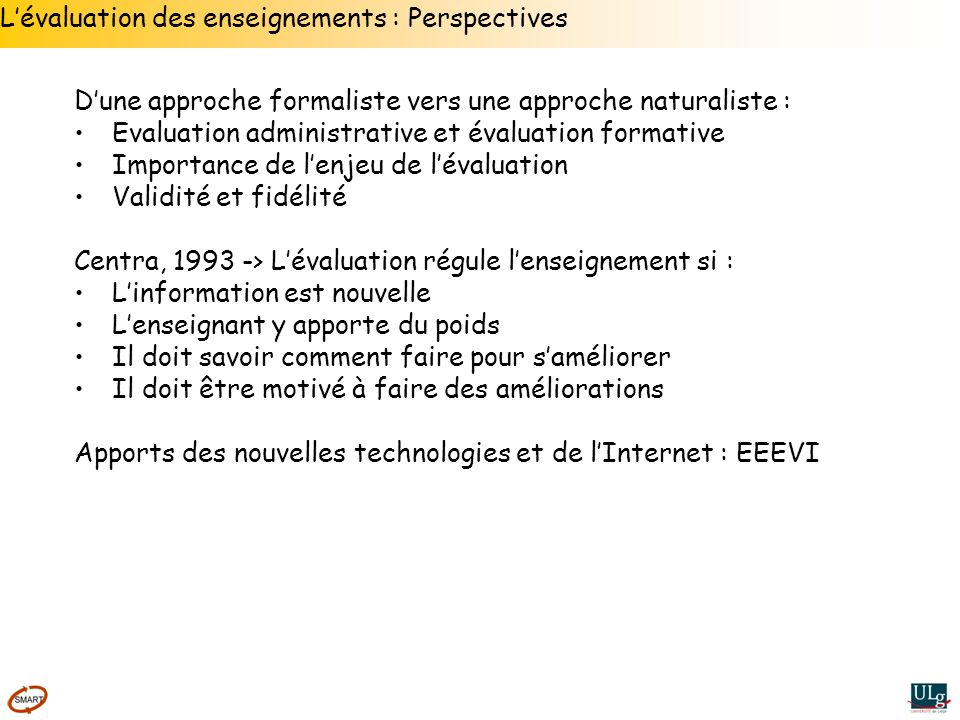 L'évaluation des enseignements : Perspectives