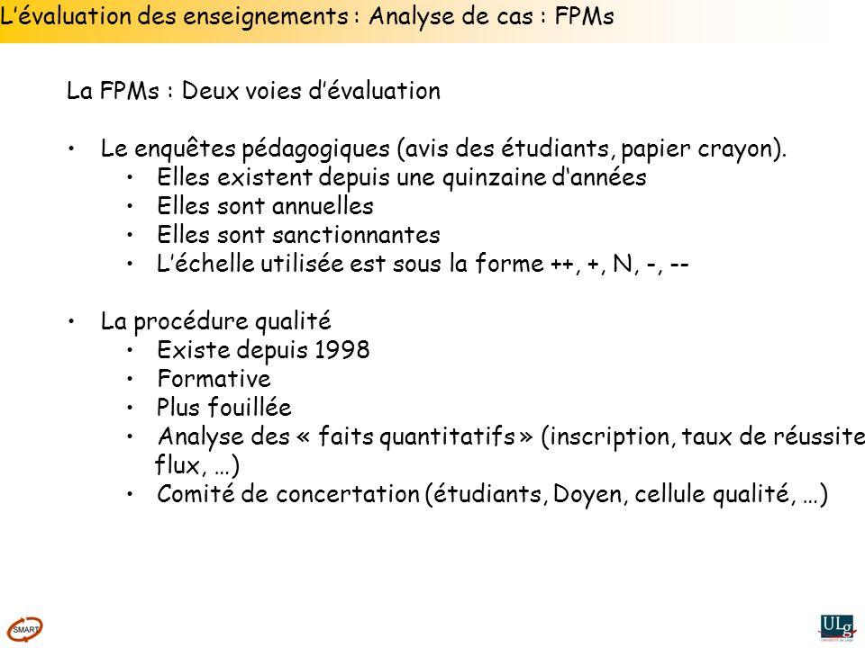 L'évaluation des enseignements : Analyse de cas : FPMs