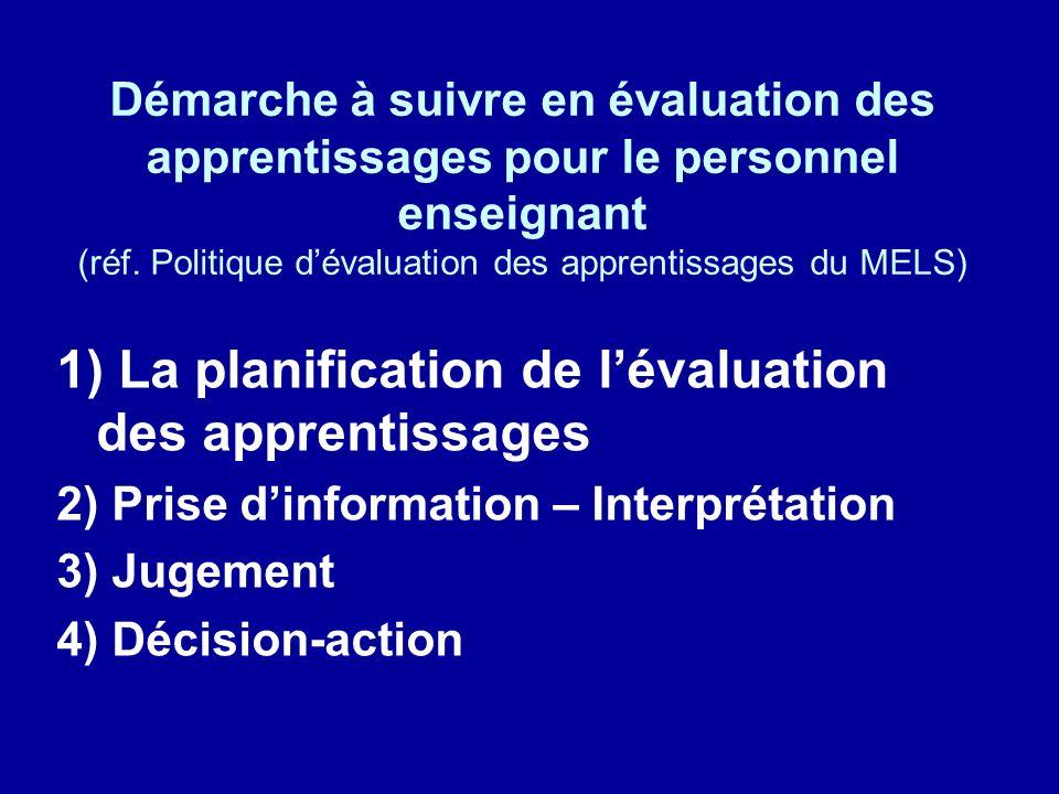 1) La planification de l'évaluation des apprentissages